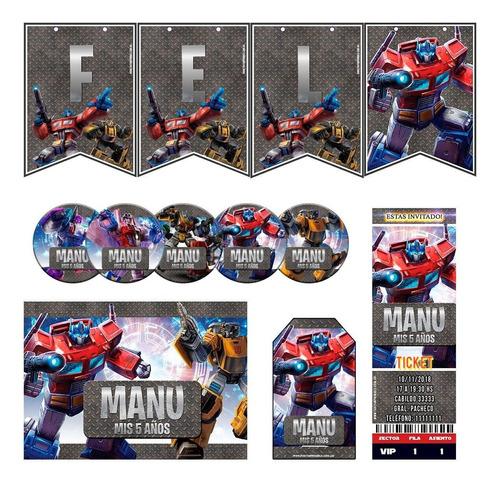 kit transformers invitaciones, stickers, banderín impreso!