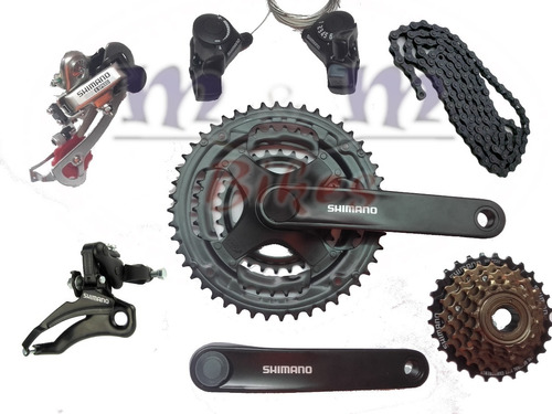 kit transmisión shimano tourney 18 vel bici mtb + cadena