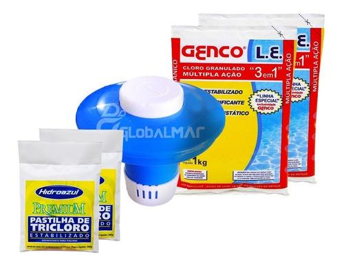 kit tratamento piscina inflável flutuador cloro pastilhas