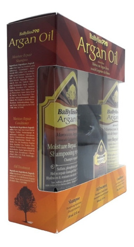 kit tratamiento cabello seco babyliss pro argan oil 3 pzs