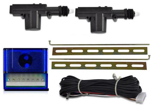kit trava eletrica + suporte + alarme uno quadrado 2 portas
