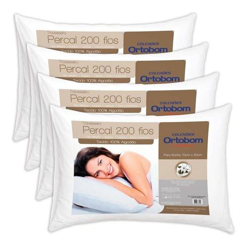 kit travesseiros ortobom percal 04 unidades percal
