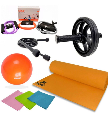 kit treinamento funcional roda+corda+tapete+faixa+bola+exten