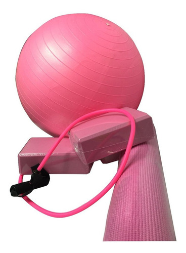 kit treino yoga pilates fisioterapia com tapete bola suiçab