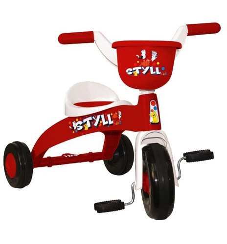 kit triciclo infantil basculante -branco+vermelho