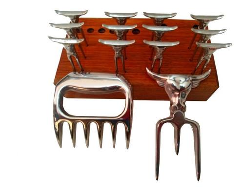 kit tridente garra de urso e 12 garfos de petiscos + suporte