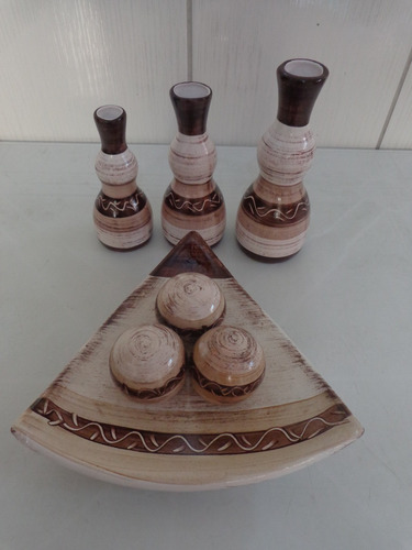 kit trio de vasos e prato triangulo com bola de cerâmica