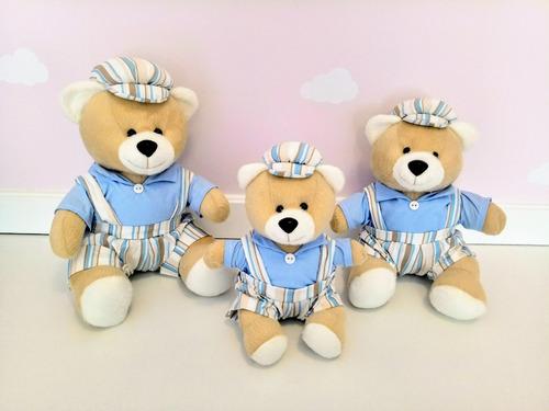 kit trio ursinho ursos para nicho fofy macacão listrado azul