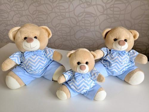 kit trio ursinhos pelucia para nicho chevron azul menino