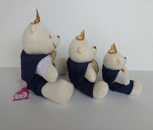 kit trio urso príncipe realeza para nicho pelúcia decoração