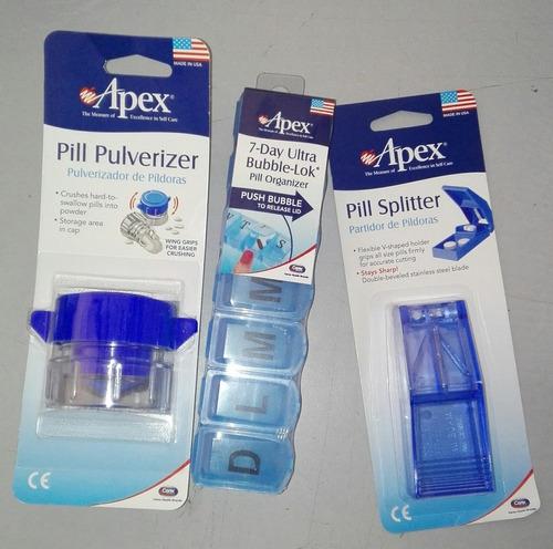 kit triturador + cortador + pastillero semanal 3 marca: apex