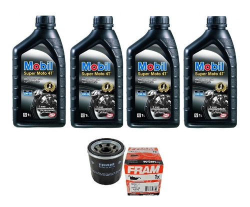 kit troca de oleo e filtro fram bandit 1250 (mobil 20w-50)