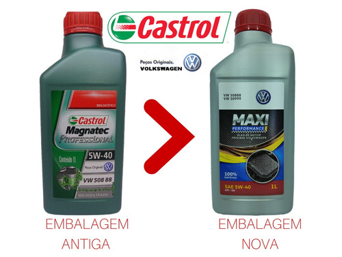 kit troca de oleo original vw castrol 5w40 100% sintetico