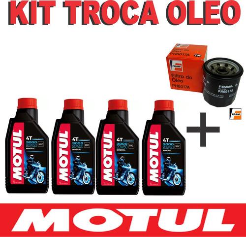 kit troca óleo+filtro kawasaki z750 motul 3000 20w50