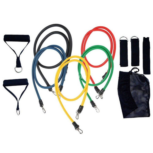 kit  tubing 11 itens extensor + kit 4 faixas mini-band loop