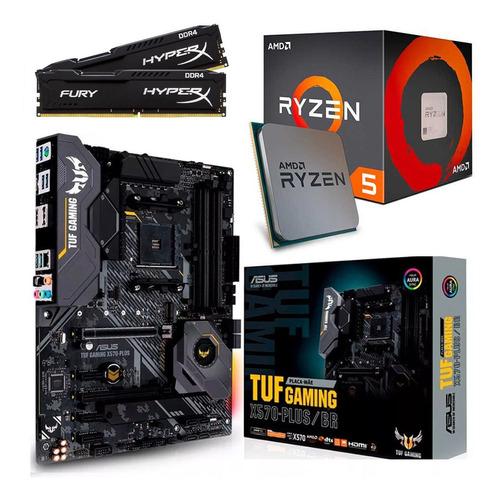kit tuf x570-plus + amd ryzen 5 3600 + 32gb hyperx 3200 mhz