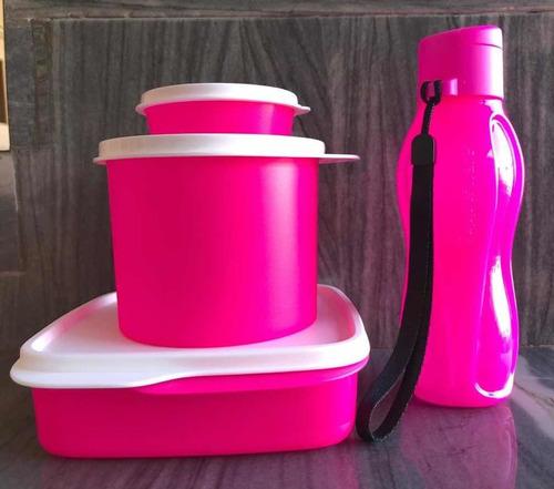 kit tupperware verão neon rosa 4 peças