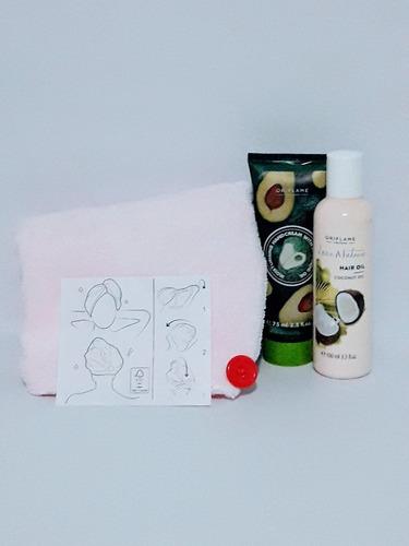 kit turbante para cabello,aceite de coco, crema mano aguaca