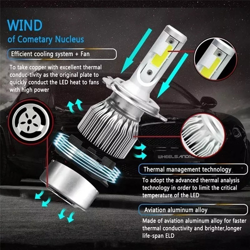 kit turbo led h1 h3 h4 h7 h11 h13 9005 9006 880 36w