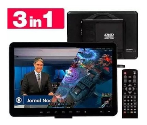 kit tv full hd digital dvd e conversor integrado portatil