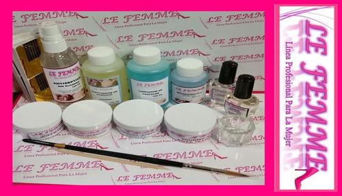 kit uñas acrilicas c/molde polimero monomero c333 lefemme