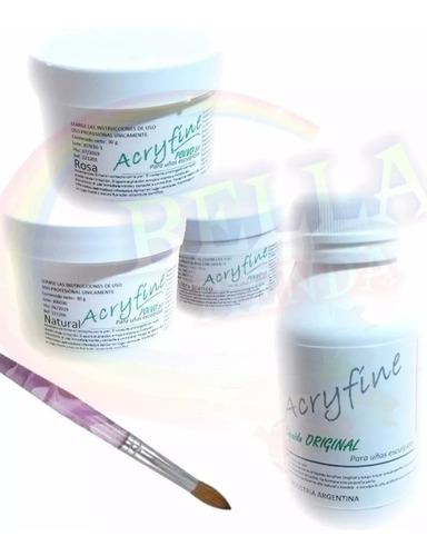 kit uñas acrilicas monomero polimero polvo a eleccion pincel