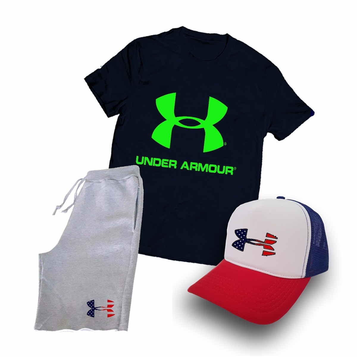 2bb9beb06ad2f kit under armour marca camiseta + boné + bermuda jogo. Carregando zoom.