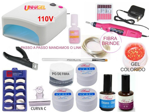 kit unhas acrigel + cabine uv + lixa + kit gel acrygel unhas