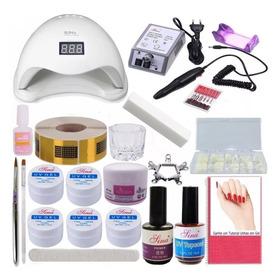 Kit Unhas Gel Manicure Completo Cabine 48w Led Alongamento
