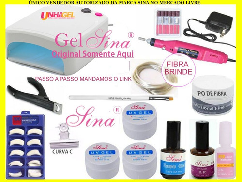 kit unhas gel uv acrigel + mini lixa eletrica + cabine fibra