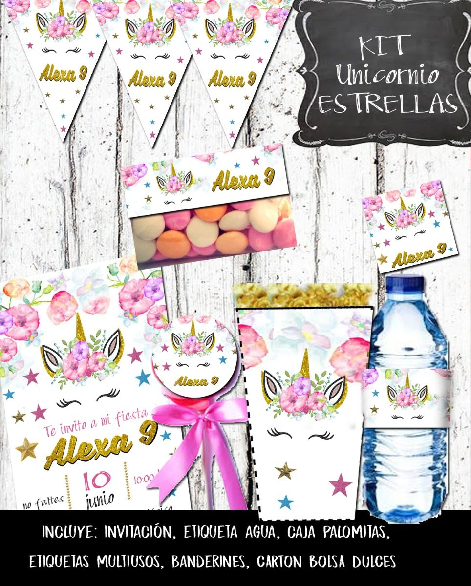Kit unicornio impreso 24 personas envio gratis for Diseno de mesa de unicornio