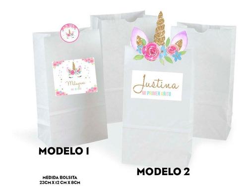 kit unicornio invitaciones, stickers, banderín impreso x30