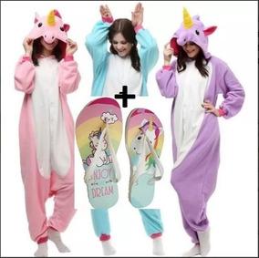 bc74cff6c16705 Kit Unicórnio Pijama Kigurumi Com Asas+ Chinelo Unicornio