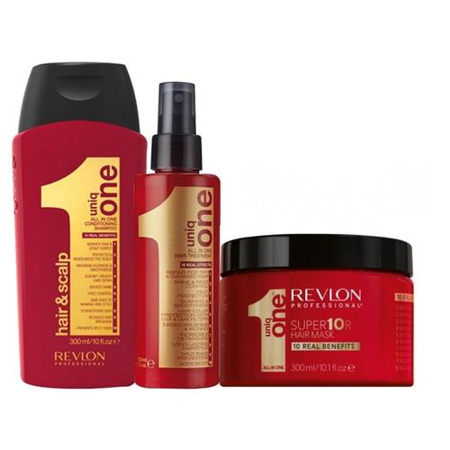 kit uniq one revlon - shampoo + leave in + super mascara