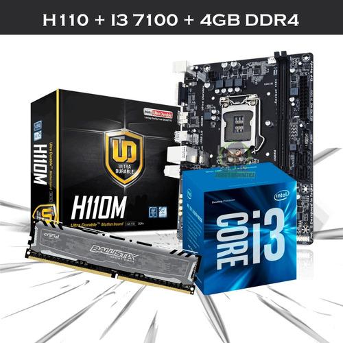 kit upgrade mb h110 usb3.0 intel i3 7100 4gb ddr4 ballistix