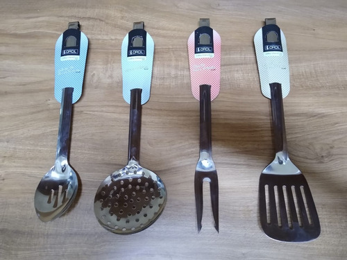 kit utensílios inox colher furada garfo espátula escumadeira