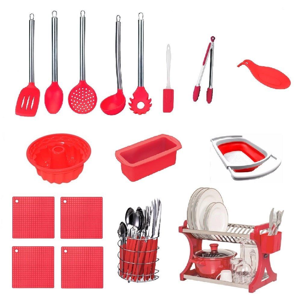 Kit Utens Lios Vermelho 17 P S Cozinha Completa R 360 00 Em