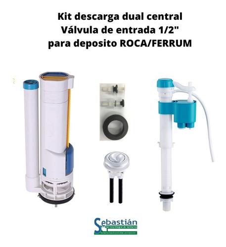 kit válvula descarga dual+entrada de agua+boton roca,ferrum