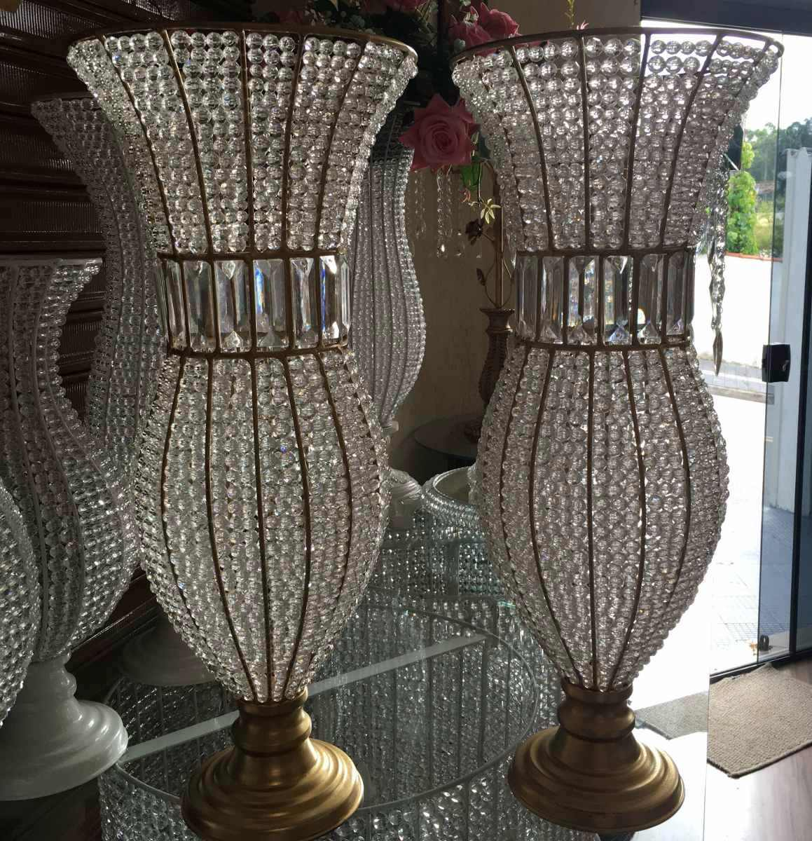 Kit vaso imp rio p de ferro e bandejas imp rio p de resina r em mercado livre - Vasos grandes cristal ...