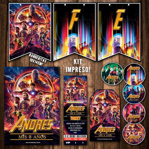 kit vengadores avengers invitaciones banderín impreso