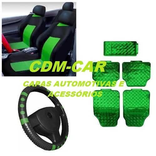 kit verde capa banco carro+tapete+vol parati 94 95 96 97 98