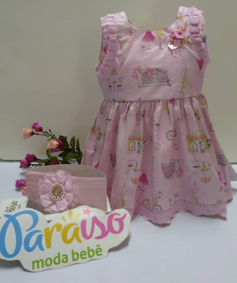 kit vestido bebe menina paraiso rosa + faixa cabelo 7519. Carregando zoom. e973165e42c