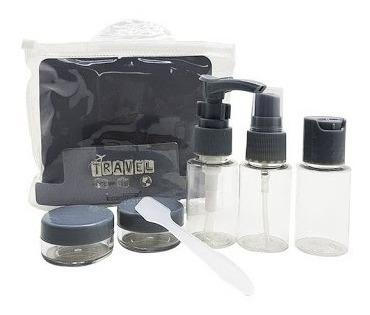 kit viagem com frascos de plástico + espatula 7 peças