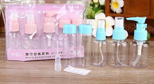 kit viajero estuche botellas de viaje 5 recipiente + estuche