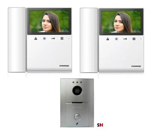 kit video portero commax 2 monitores 4.3 pulgadas interfon
