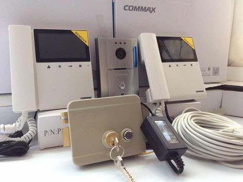 kit video portero commax frente dos monitor, chapa, cable y