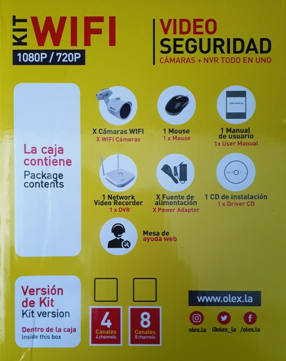 Kit Video Seguridad 4 Camaras Wifi + Dvr 1080p/720p Olex la