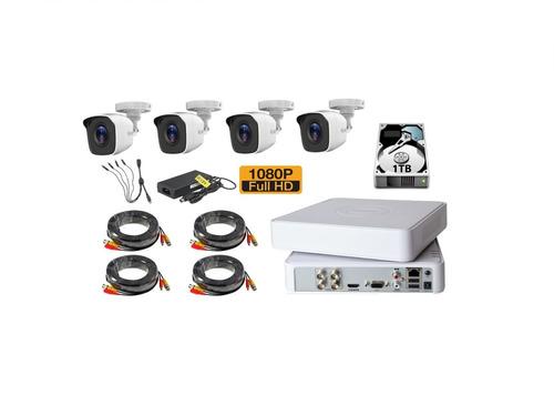 kit video vigilancia  4 cámaras hd 2mp / 1080 en metal 1tb