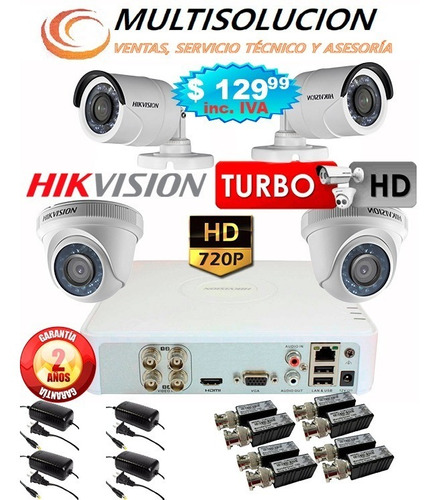 kit video vigilancia hikvision turbohd720p 4 camaras inc iva