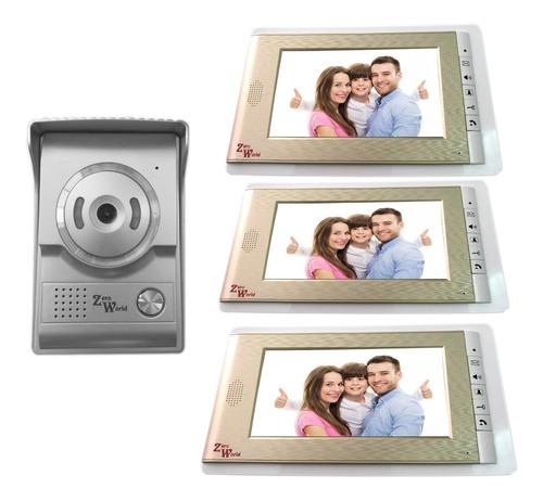 kit videoportero interfon 3 pantalla  7 color video portero